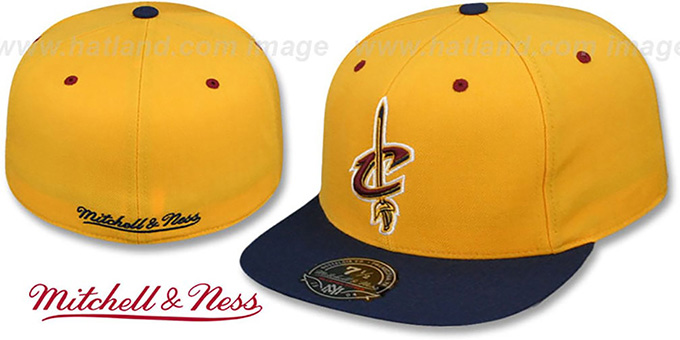 Cavaliers '2T TEAM-BASIC' Gold-Navy Fitted Hat by Mitchell and Ness : pictured without stickers that these products are shipped with