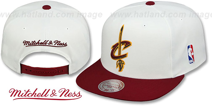 Cavaliers '2T XL-LOGO SNAPBACK - 2' White-Burgundy Hat by Mitchell and Ness : pictured without stickers that these products are shipped with