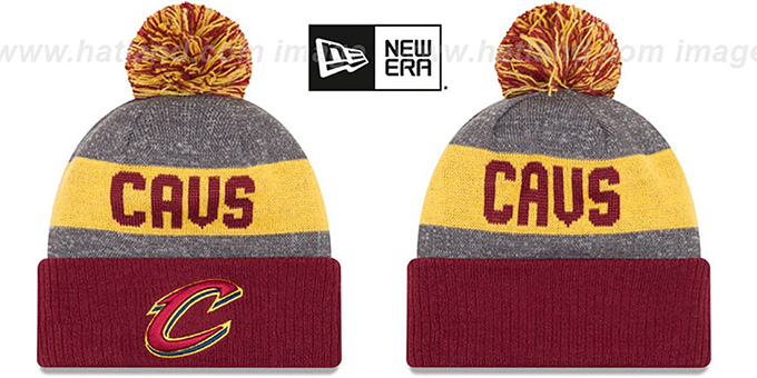 Cavaliers 'ARENA SPORT' Burbundy-Gold Knit Beanie Hat by New Era : pictured without stickers that these products are shipped with
