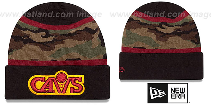 Cavaliers 'ARMY CAMO FILLZ' Knit Beanie Hat by New Era : pictured without stickers that these products are shipped with