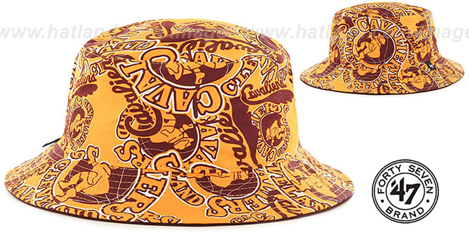 Cavaliers 'BRAVADO BUCKET' Gold Hat by Twins 47 Brand : pictured without stickers that these products are shipped with