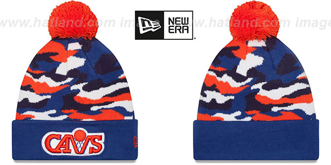 Cavaliers 'CAMO CAPTIVATE' Knit Beanie Hat by New Era : pictured without stickers that these products are shipped with