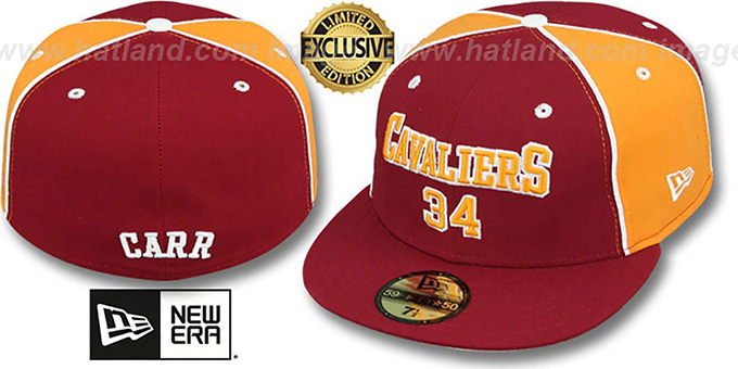 Cavaliers CARR 'TEAM-UP' Burgundy-Gold Fitted Hat by New Era : pictured without stickers that these products are shipped with