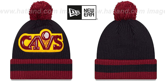 Cavaliers 'CHILLER FILLER BEANIE' Navy-Burgundy by New Era : pictured without stickers that these products are shipped with