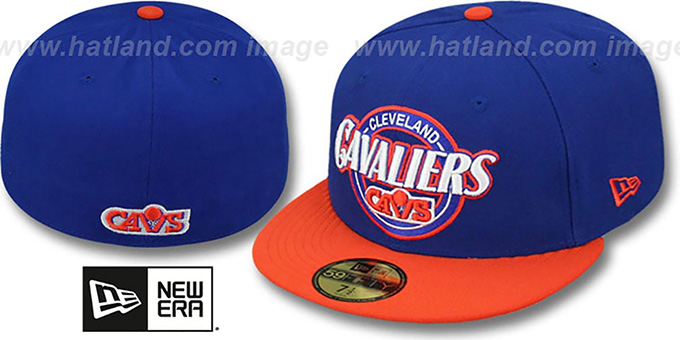 Cavaliers 'CIRCLE-CLOSER' Royal-Orange Fitted Hat by New Era : pictured without stickers that these products are shipped with