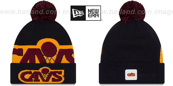 Cavaliers 'COLOSSAL-TEAM' Navy Knit Beanie Hat by New Era : pictured without stickers that these products are shipped with