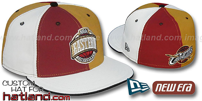Cavaliers CONFERENCE 'PINWHEEL' Burgundy-Gold-White Fitted Hat : pictured without stickers that these products are shipped with