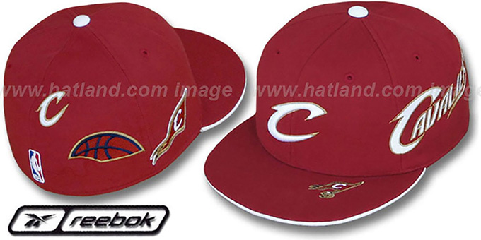 Cavaliers 'ELEMENTS 2' Fitted Hat by Reebok - burgundy : pictured without stickers that these products are shipped with