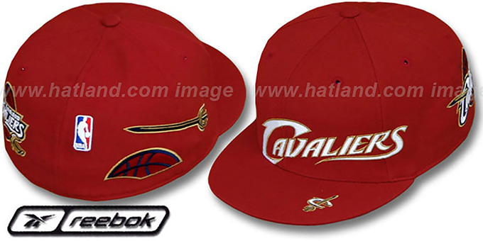 Cavaliers 'ELEMENTS' Fitted Hat by Reebok - burgundy : pictured without stickers that these products are shipped with