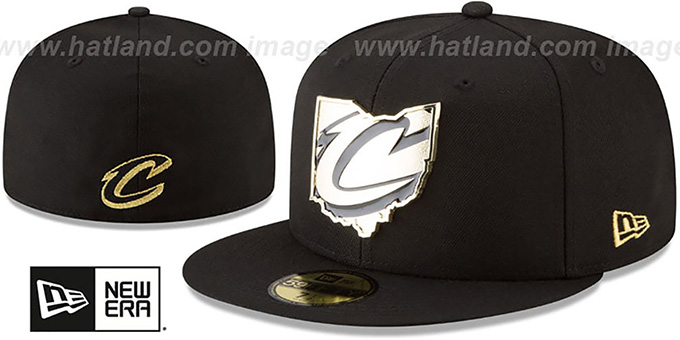 736e29e0471 Cavaliers  GOLD STATED METAL-BADGE  Black Fitted Hat by New Era
