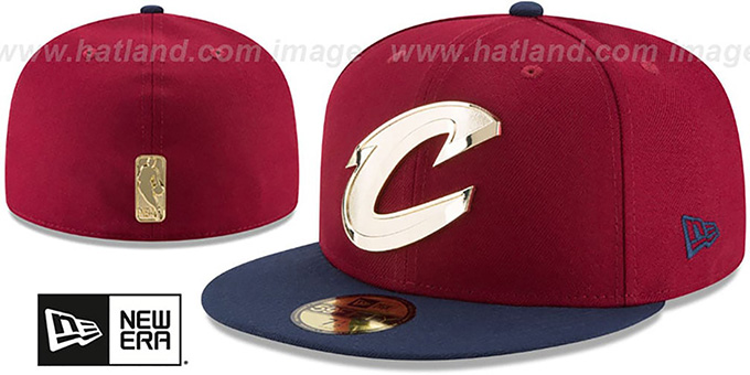 Cavaliers 'GOLDEN-BADGE' Burgundy-Navy Fitted Hat by New Era