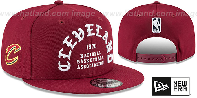 Cavaliers 'GOTHIC-ARCH SNAPBACK' Burgundy Hat by New Era : pictured without stickers that these products are shipped with
