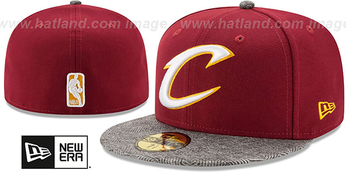 Cleveland Cavaliers GRIPPING-VIZE Burgundy-Grey Fitted Hat by New Era 5567dd3c299