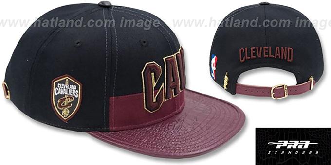 5d82a56ac955c1 Cavaliers 'HORIZON STRAPBACK' Black-Burgundy Hat by Pro Standard