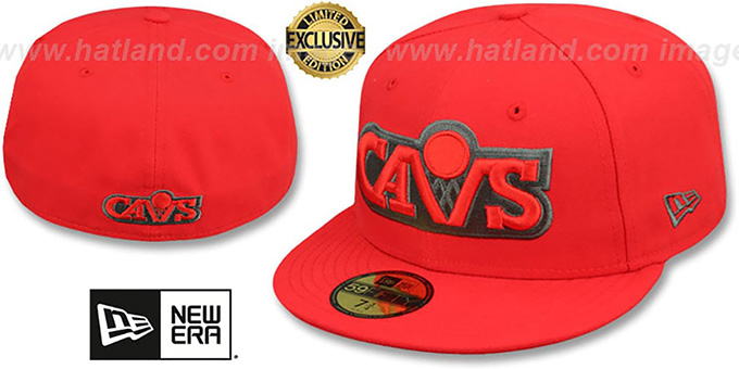 Cavaliers 'HWC NBA TEAM-BASIC' Fire Red-Charcoal Fitted Hat by New Era : pictured without stickers that these products are shipped with