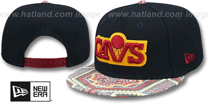 Cavaliers 'KALEIDOVIZE SNAPBACK' Navy Hat by New Era : pictured without stickers that these products are shipped with