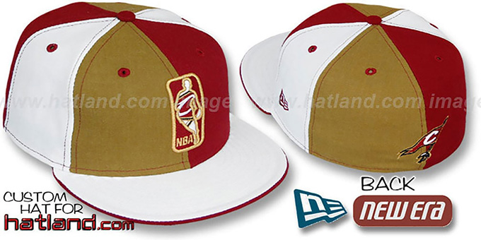 Cavaliers 'KEY-INSIDER PINWHEEL' Gold-Burgundy-White Fitted Hat : pictured without stickers that these products are shipped with
