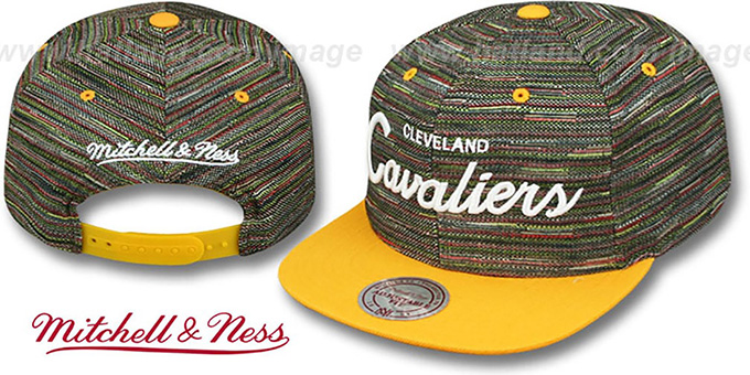 Cavaliers 'KNIT-WEAVE SNAPBACK' Multi-Gold Hat by Mitchell and Ness : pictured without stickers that these products are shipped with