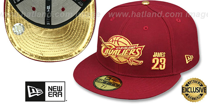 Cavaliers 'LEBRON JAMES 23' Burgundy Fitted Hat by New Era : pictured without stickers that these products are shipped with