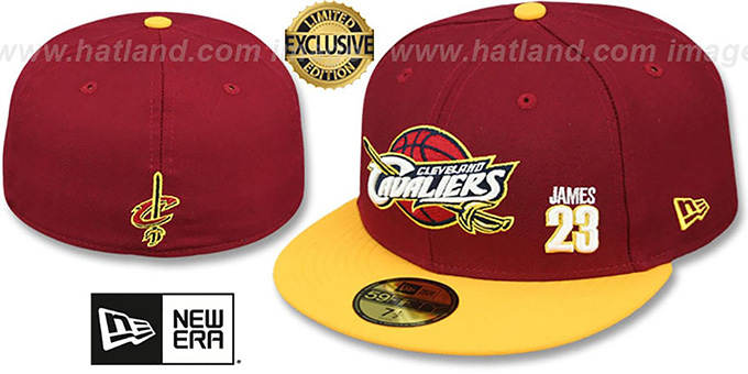Cavaliers 'LEBRON JAMES 23' Burgundy-Gold Fitted Hat by New Era : pictured without stickers that these products are shipped with