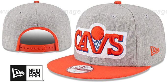 Cavaliers 'LOGO GRAND SNAPBACK' Grey-Orange Hat by New Era : pictured without stickers that these products are shipped with