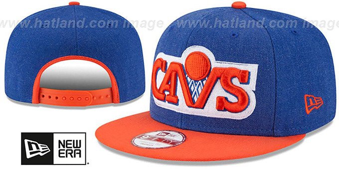 Cavaliers 'LOGO GRAND SNAPBACK' Royal-Orange Hat by New Era : pictured without stickers that these products are shipped with