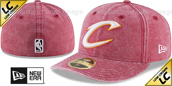Cavaliers 'LOW-CROWN FADED' Burgundy Fitted Hat by New Era : pictured without stickers that these products are shipped with