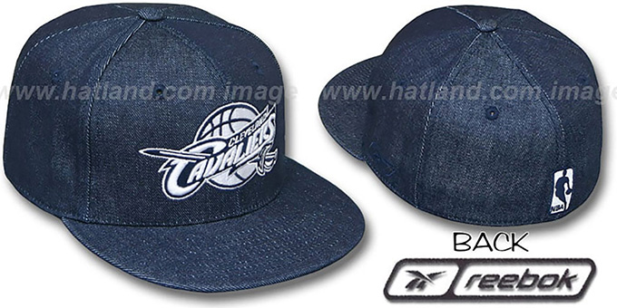 Cavaliers NAVY 'DENIM' Fitted Hat by Reebok : pictured without stickers that these products are shipped with