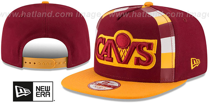 Cavaliers 'NBA JERSEY MURAL SNAPBACK' Hat by New Era : pictured without stickers that these products are shipped with