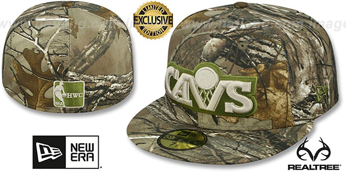 Cavaliers 'NBA TEAM-BASIC' Realtree Camo Fitted Hat by New Era : pictured without stickers that these products are shipped with