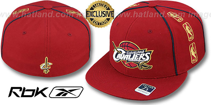 Cavaliers 'NBA-TRIPLESIDE' Burgundy Fitted Hat by Reebok : pictured without stickers that these products are shipped with