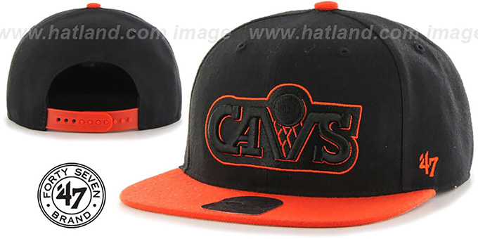 Cavaliers 'NO-SHOT SNAPBACK' Black-Orange Hat by Twins 47 Brand : pictured without stickers that these products are shipped with
