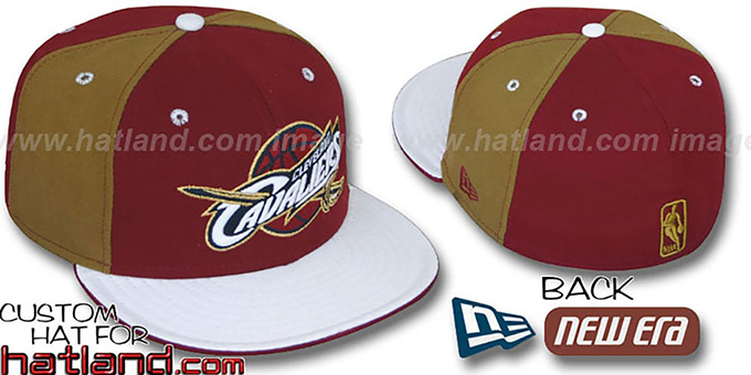 Cavaliers 'PINWHEEL' Burgundy-Gold-White Fitted Hat : pictured without stickers that these products are shipped with