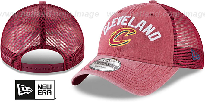 Cavaliers 'RUGGED-TEAM TRUCKER SNAPBACK' Burgundy Hat by New Era : pictured without stickers that these products are shipped with