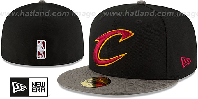 Cavaliers 'RUSTIC-VIZE' Black-Grey Fitted Hat by New Era : pictured without stickers that these products are shipped with