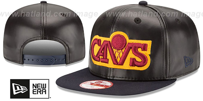 Cavaliers 'SMOOTHLY STATED SNAPBACK' Black-Navy Hat by New Era : pictured without stickers that these products are shipped with