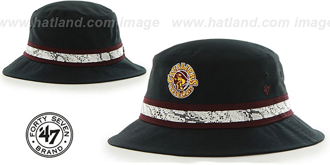 Cavaliers 'SNAKEBAND BUCKET' Black Hat by Twins 47 Brand : pictured without stickers that these products are shipped with