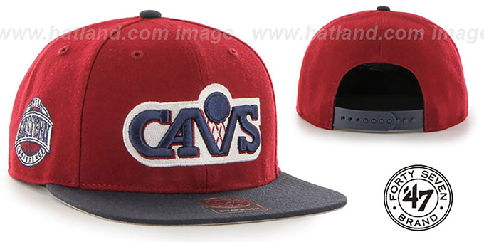 Cavaliers 'SURE-SHOT SNAPBACK' Burgundy-Navy Hat by Twins 47 Brand : pictured without stickers that these products are shipped with