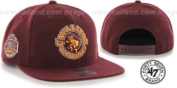 Cavaliers 'SURE-SHOT SNAPBACK' Burgundy Hat by Twins 47 Brand : pictured without stickers that these products are shipped with
