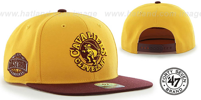 Cavaliers 'SURE-SHOT SNAPBACK' Gold-Burgundy Hat by Twins 47 Brand : pictured without stickers that these products are shipped with