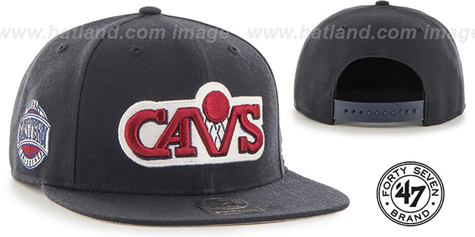 Cavaliers 'SURE-SHOT SNAPBACK' Navy Hat by Twins 47 Brand : pictured without stickers that these products are shipped with