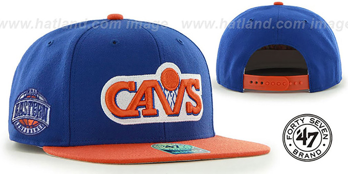 Cavaliers 'SURE-SHOT SNAPBACK' Royal-Orange Hat by Twins 47 Brand : pictured without stickers that these products are shipped with