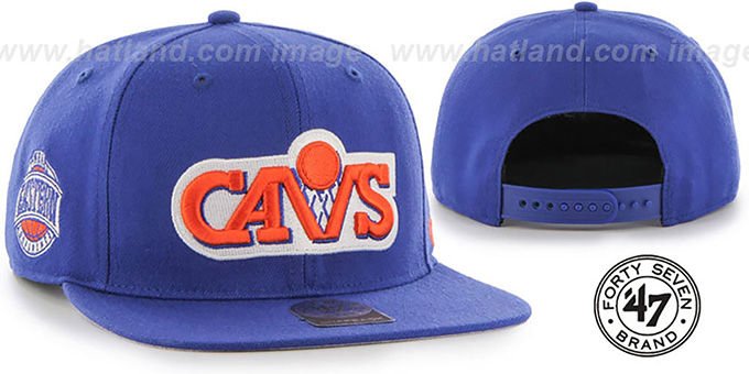 Cavaliers 'SURE-SHOT SNAPBACK' Royal Hat by Twins 47 Brand : pictured without stickers that these products are shipped with