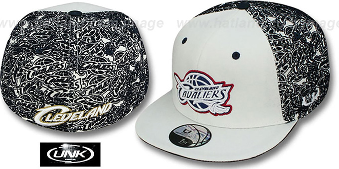 Cavaliers 'TC-FLOCKING' White-Navy Fitted Hat by UNK : pictured without stickers that these products are shipped with