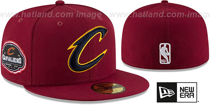 Cavaliers 'TEAM-SUPERB' Burgundy Fitted Hat by New Era : pictured without stickers that these products are shipped with