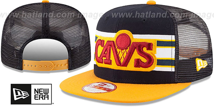 Cavaliers 'THROWBACK-STRIPE SNAPBACK' Navy-Gold Hat by New Era : pictured without stickers that these products are shipped with