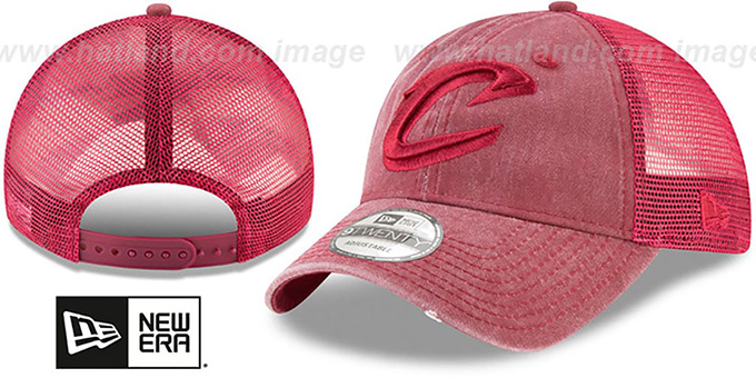 Cavaliers 'TONAL-WASHED TRUCKER SNAPBACK' Burgundy Hat by New Era
