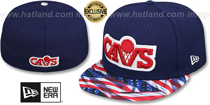 Cavaliers 'USA WAVING-FLAG' Navy Fitted Hat by New Era : pictured without stickers that these products are shipped with