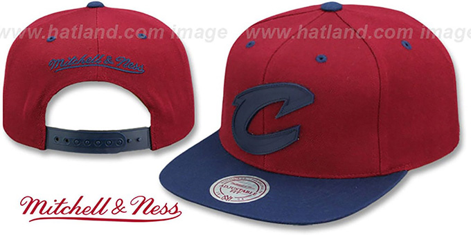 0f3a0895efd Cavaliers  XL RUBBER WELD SNAPBACK  Burgundy-Navy Adjustable Hat by Mitchell  and Ness