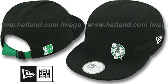 Celtics  'FLAWLESS CAMPER STRAPBACK' Black Hat by New Era : pictured without stickers that these products are shipped with